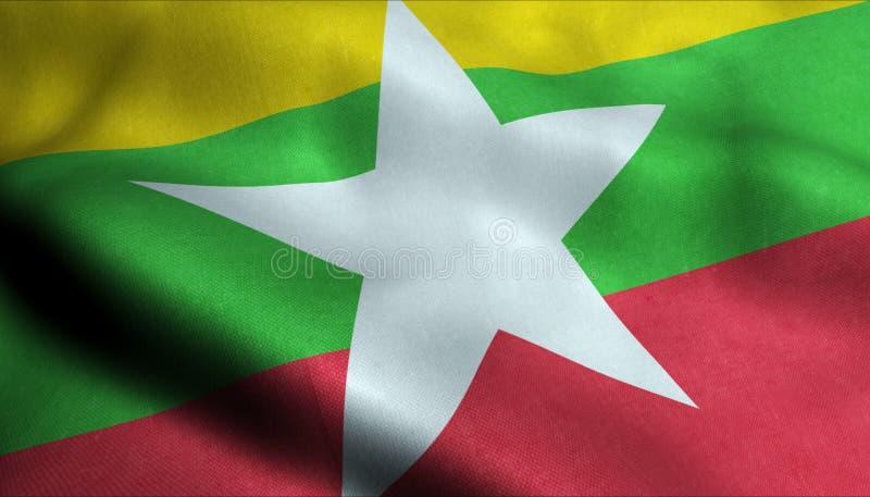 Myanmar vinkande flagga i 3D stock illustrationer