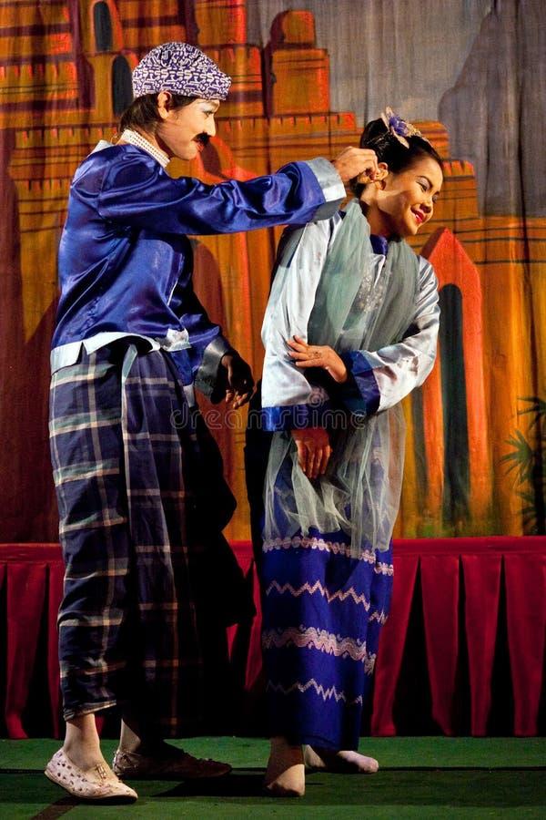 Myanmar Volksdans stock afbeeldingen