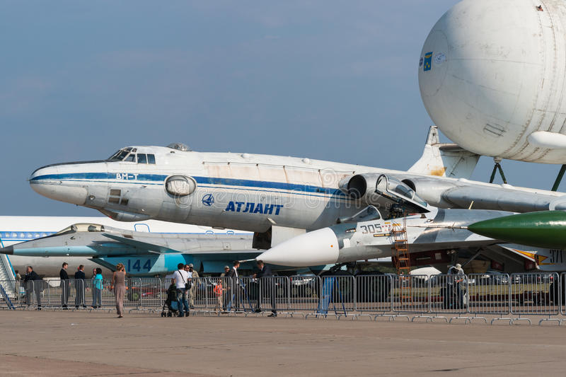 Myasishchev VM-T Atlant transport with Energia-Buran space shuttle booster tank on top. MOSCOW, RUSSIA - AUGUST 26, 2015: 12th International Aviation and Space royalty free stock photos