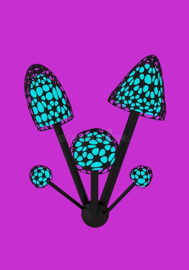 Mycelium med fem champinjoner på den violetta illustrationen för bakgrund 3D stock illustrationer