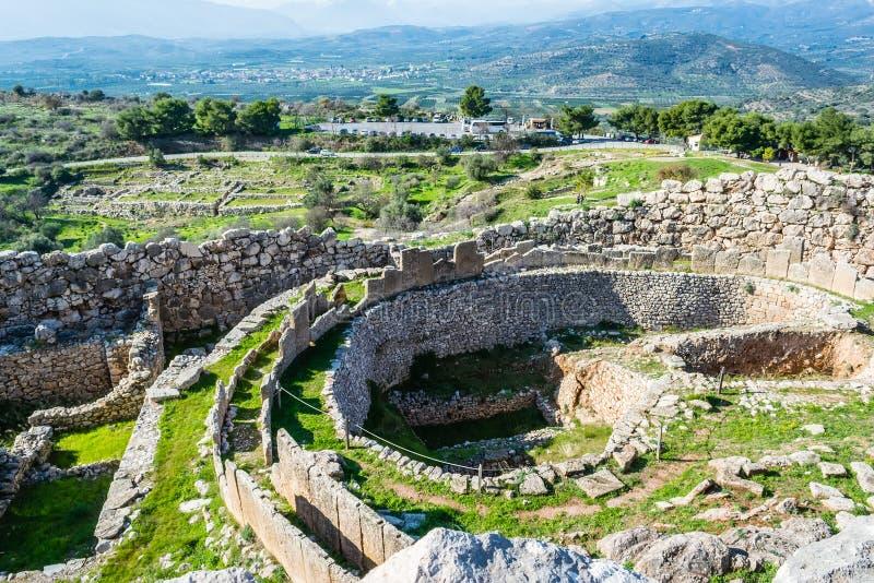 Mycenae, archeologische plaats in Griekenland stock afbeelding