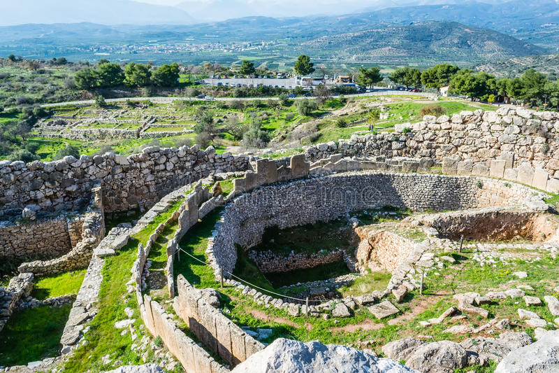 Mycenae arkeologiskt ställe i Grekland fotografering för bildbyråer