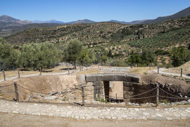 Mycenae gravvalv, allvarlig cirkel royaltyfri foto