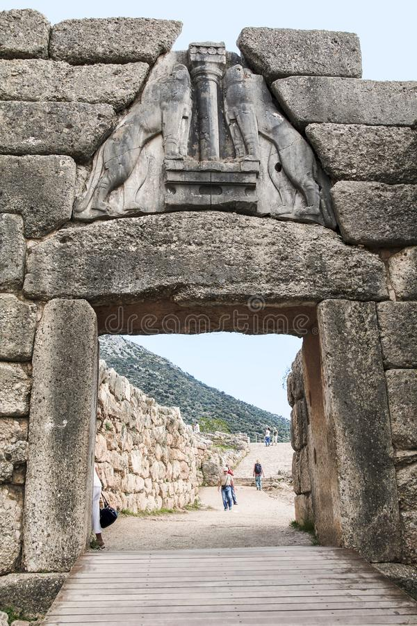 Lion Gate in Mycenae, Greece royalty free stock images