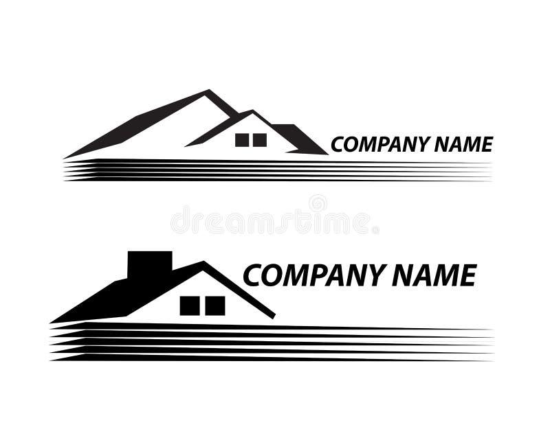 Mycket detaljerade och uttrycksfulla huslogo Real Estate royaltyfri illustrationer