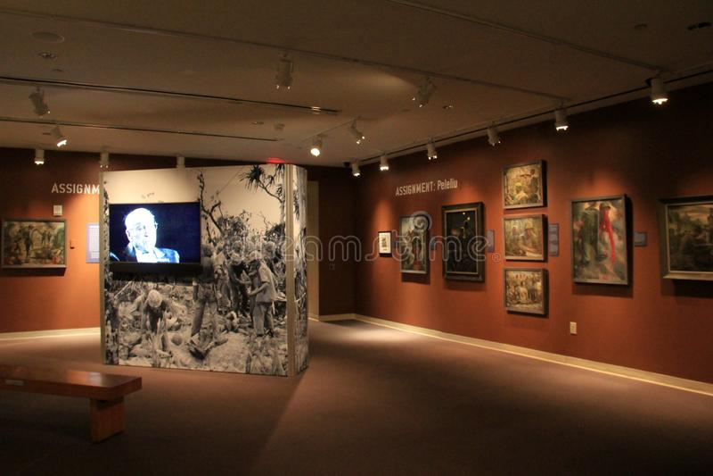 Mycket emotionell utställning av olika strider och krig, WWII-museum, New Orleans, 2016 arkivbilder