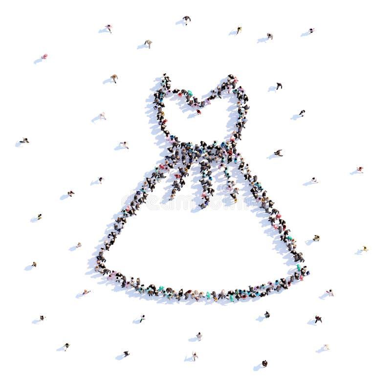 Mycket folk bildar bröllopsklänningen, förälskelse, symbol framförande 3d royaltyfri illustrationer
