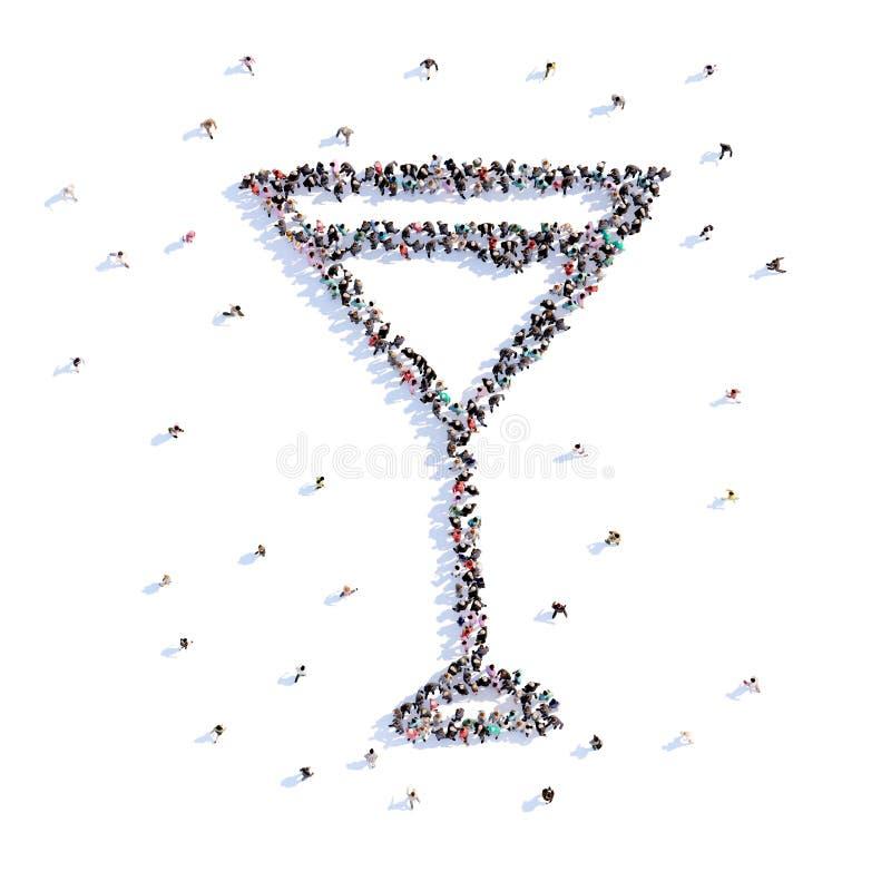 Mycket folk bildar ett exponeringsglas av martini, ett bröllop, förälskelse, symbol framförande 3d royaltyfri illustrationer