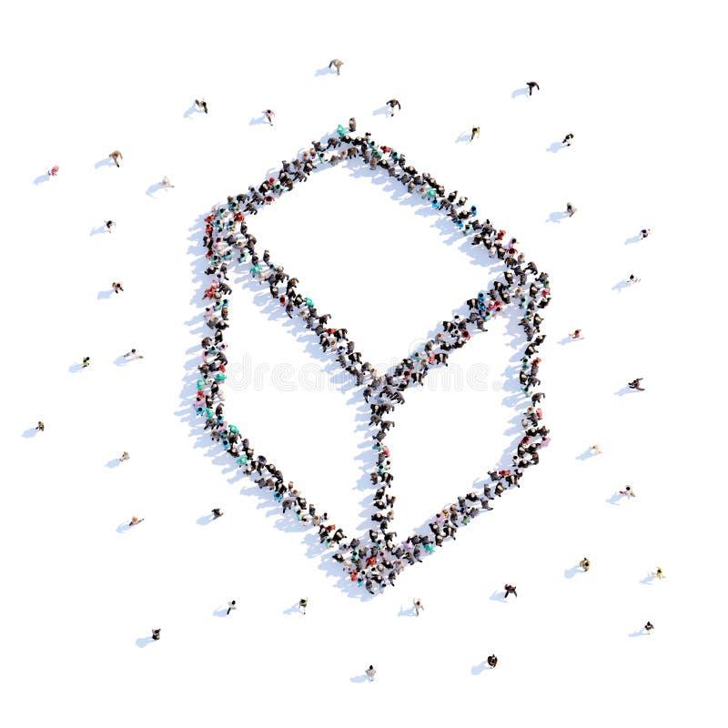 Mycket folkformkub, symbol framförande 3d vektor illustrationer