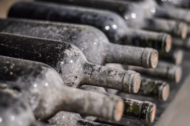 Mycket gamla staplade vinflaskor fotografering för bildbyråer