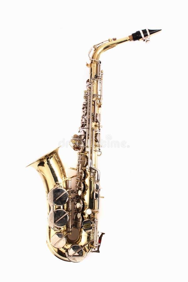 mycket gammal saxofon royaltyfria foton