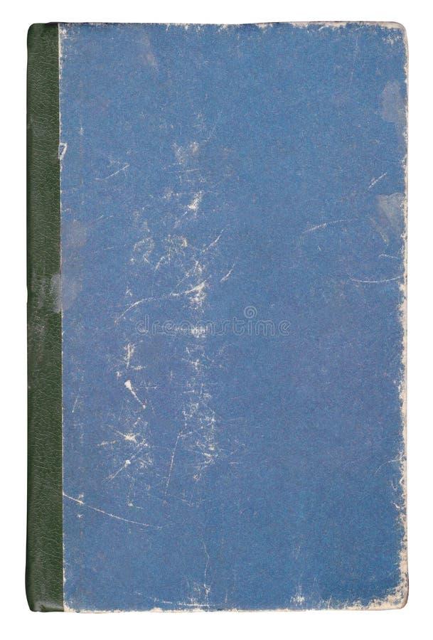 Mycket gammalt blått bokomslag som isoleras på vit fotografering för bildbyråer