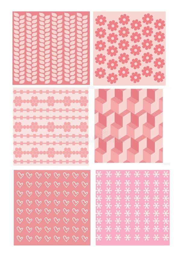 Mycket gulliga och flickaktigt trevliga rosa färgmodeller för kläder och pijamas vektor illustrationer