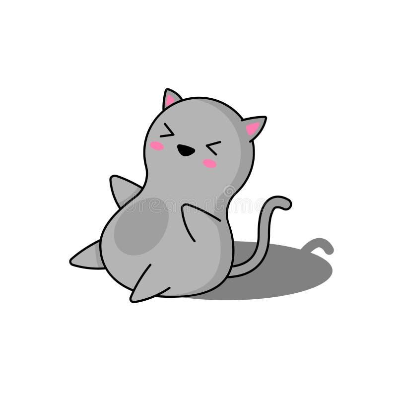 Mycket gulligt grått sitta för kattunge vektor illustrationer
