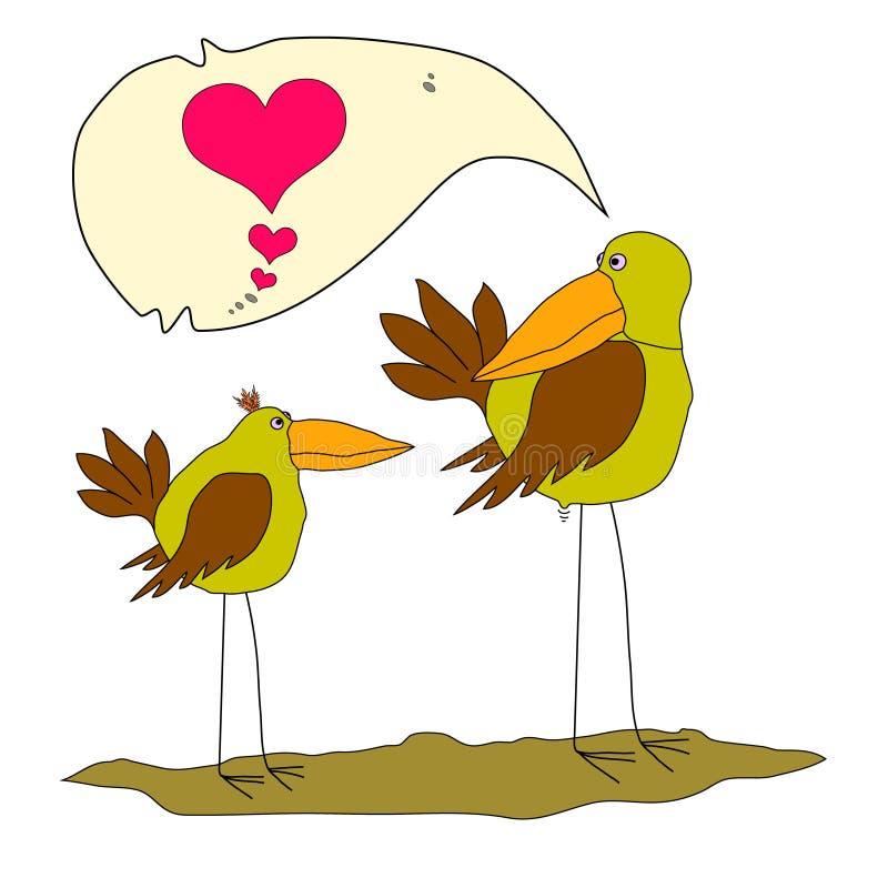 Mycket härlig fågel två Valentine Birds Två roliga tecknad filmfåglar Två förälskade galna fåglar Två förälskelsefågelpar stock illustrationer