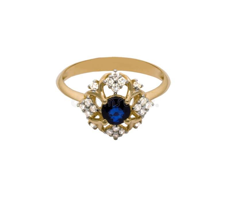 Mycket härlig guld- cirkel med stora safir och diamanter royaltyfri foto