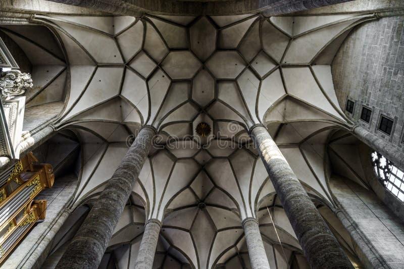 Mycket högt medeltida kyrka med det majestätiska taket inre arkivbild