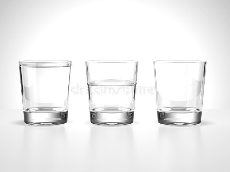 Mycket halva och tomma vattenexponeringsglas stock illustrationer