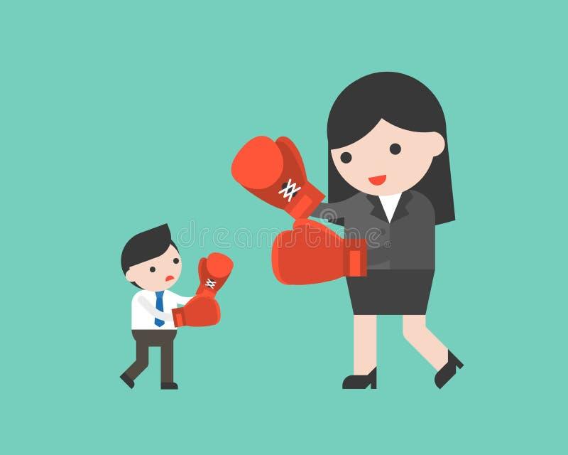 Mycket liten affärsmanstridighet med den jätte- affärskvinnan, genom att boxas, a royaltyfri illustrationer