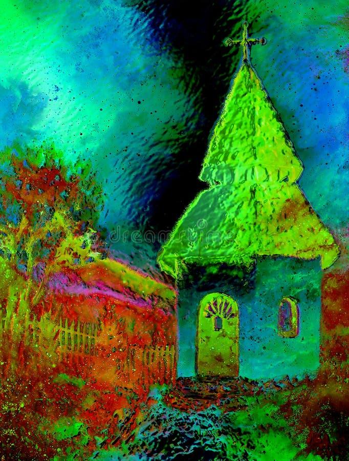 Mycket liten historisk klockstapel i lantligt landskap, grafisk collage med ljus och färgeffekt stock illustrationer