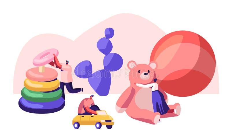 Mycket liten man och kvinnliga tecken som spelar med olika leksaker för barn Män och kvinnor som spelar med enormt, behandla som  stock illustrationer