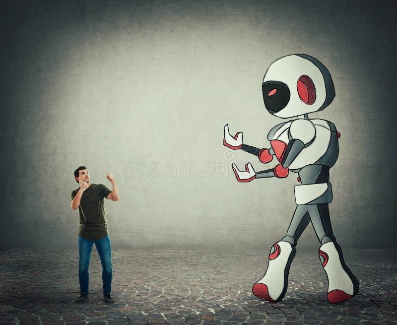Mycket liten mankamp mot konstgjord intelligens för jätte- droid royaltyfri illustrationer