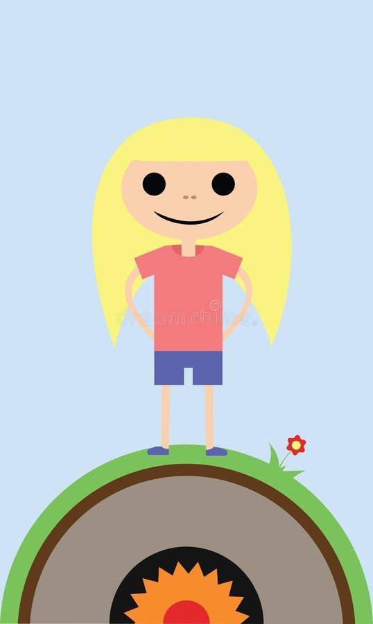 Mycket liten nätt flicka med den rosa skjortan stock illustrationer
