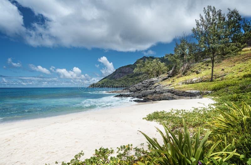 Mycket liten vit-sand strand i Seychellerna royaltyfria foton
