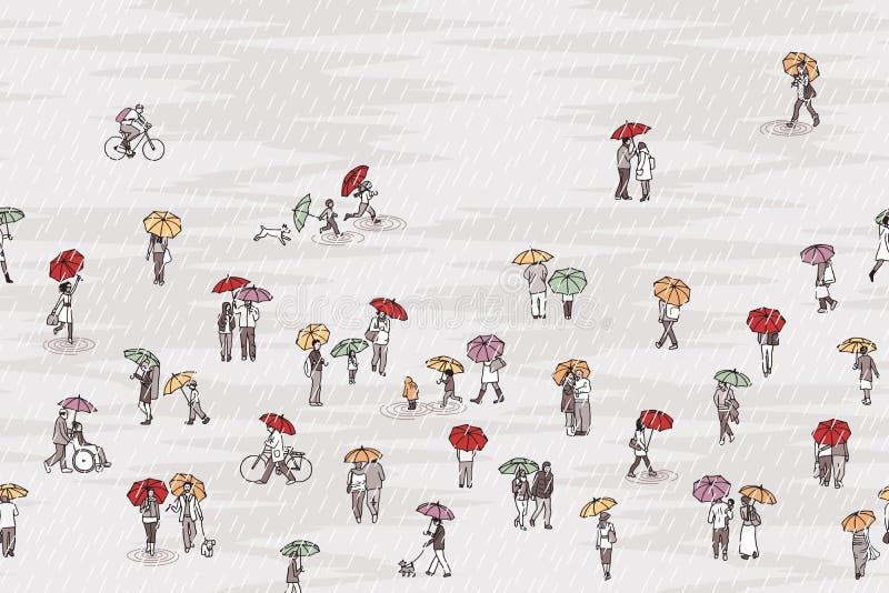 Mycket litet folk med färgrika paraplyer stock illustrationer