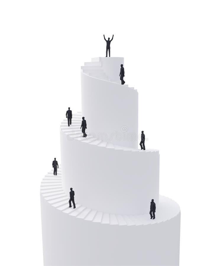 Mycket litet folk som klättrar det spiral tornet vektor illustrationer