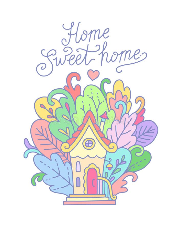 mycket litet hus stock illustrationer