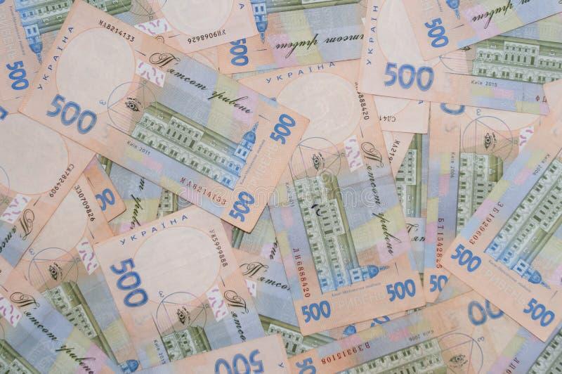 Mycket pengar, ukrainsk hryvnia, bakgrund av sedlar, sikt uppifr fotografering för bildbyråer