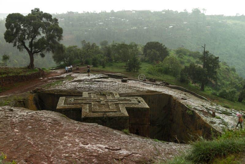 Mycket regnig dag i Lalibela ethiopia arkivfoto