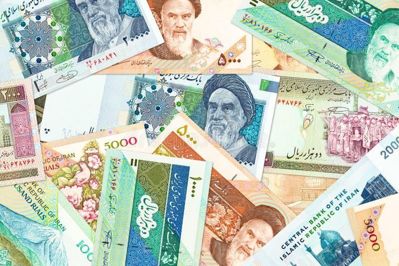 Mycket sedlar för iransk rial royaltyfria foton