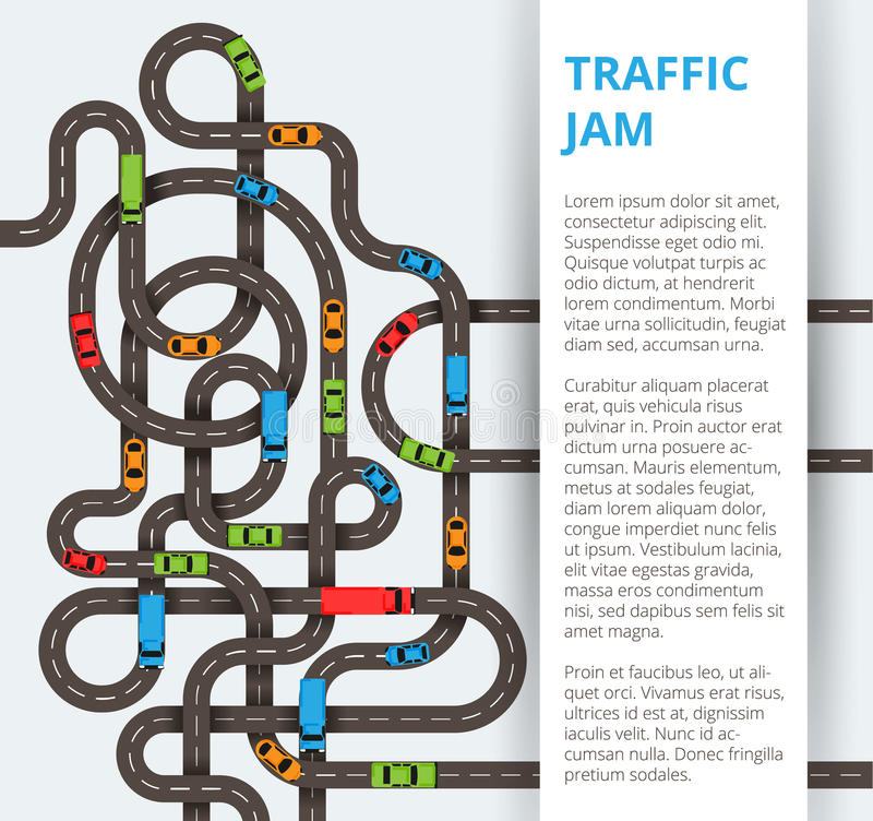 Mycket slingriga vägar med färgrika bilar och lastbilar Trafik Co royaltyfria bilder