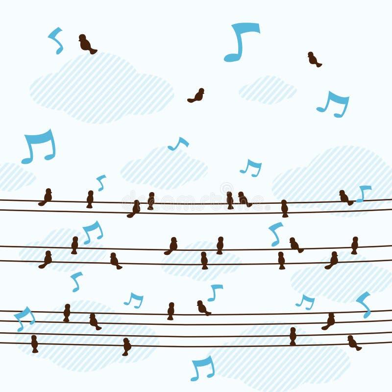 Mycket små fåglar sjunger en sång på linjen vektor arkivfoto