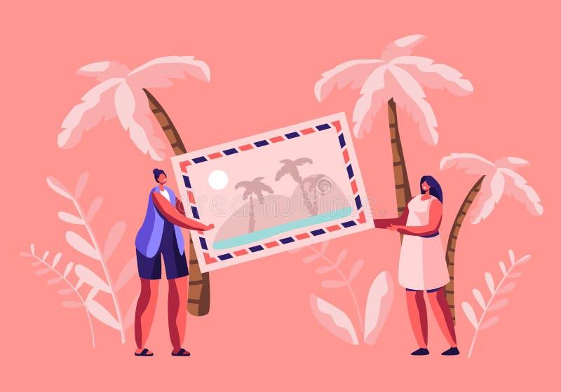 Mycket små kvinnatecken som rymmer det enorma fotoet eller vykortet med den tropiska stranden och palmträd, sommarTid semester vektor illustrationer