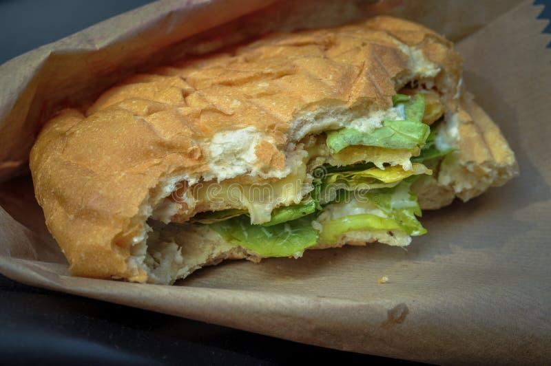 Mycket smaklig hamburgare med ost och grönsallat Skjutit i en studio royaltyfria foton