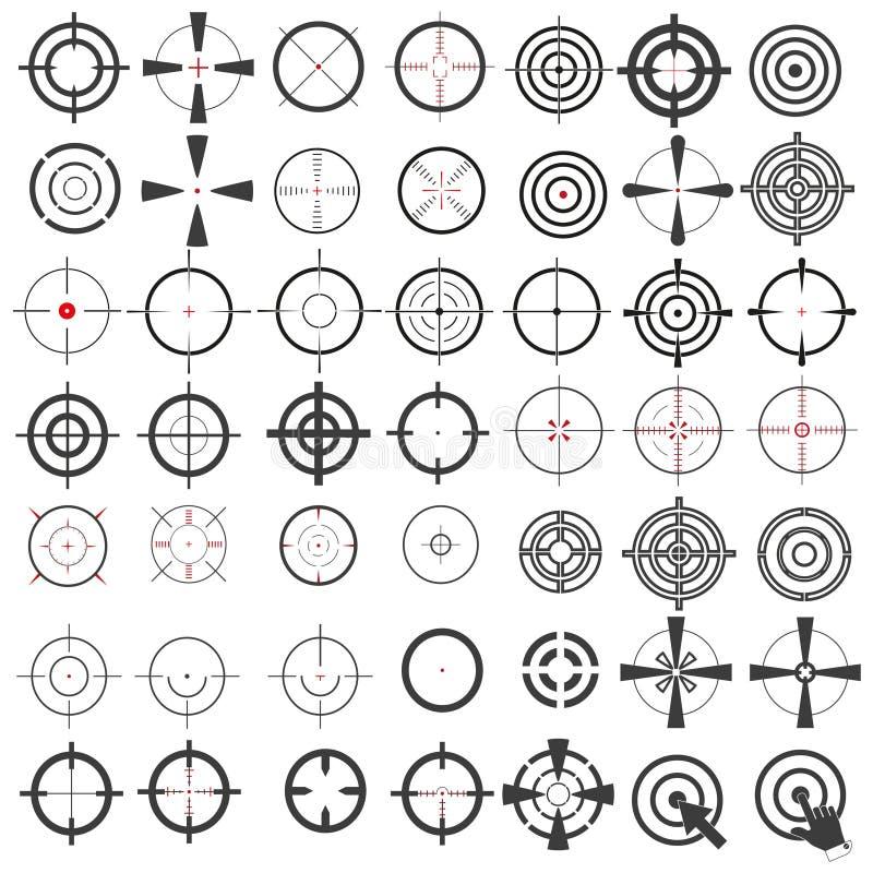 Mycket stor samling av symboler, symboler, vapensikt, mål, prickskytträckvidd white f?r bakgrundsbitisolering vektor illustrationer