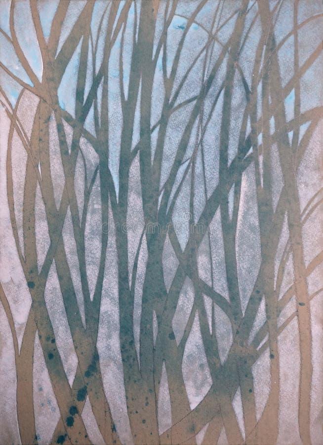 Mycket trevlig original- vattenfärgmålning av skogen på papper arkivfoton