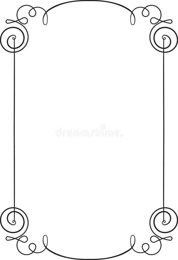 Mycket tunn tappningsvart, enkel elegant ram med det tomma stället royaltyfri illustrationer