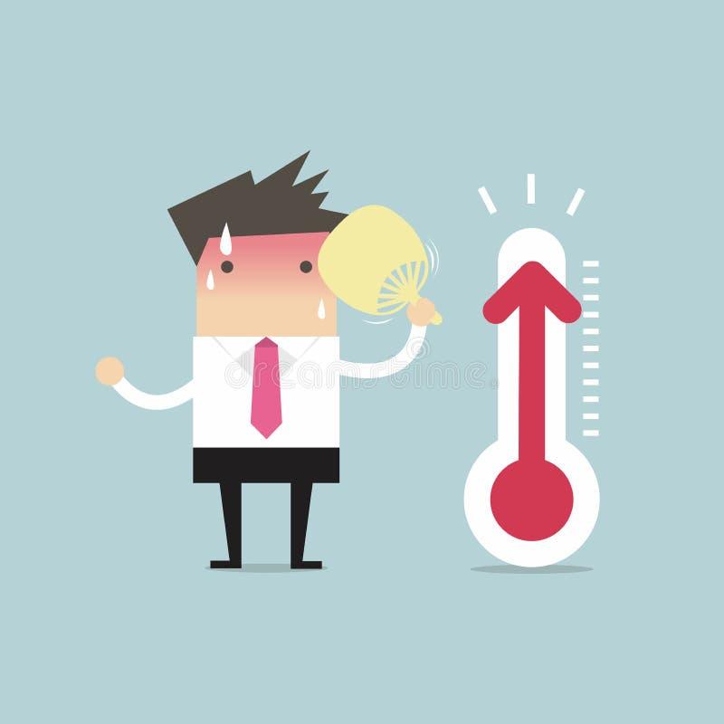 Mycket varm affärsman därför att ökande temperatur royaltyfri illustrationer