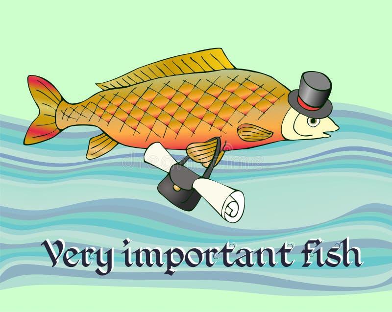 Mycket viktig fisk med dokumentet i påse och i hatt på huvudet Rolig bild royaltyfri illustrationer