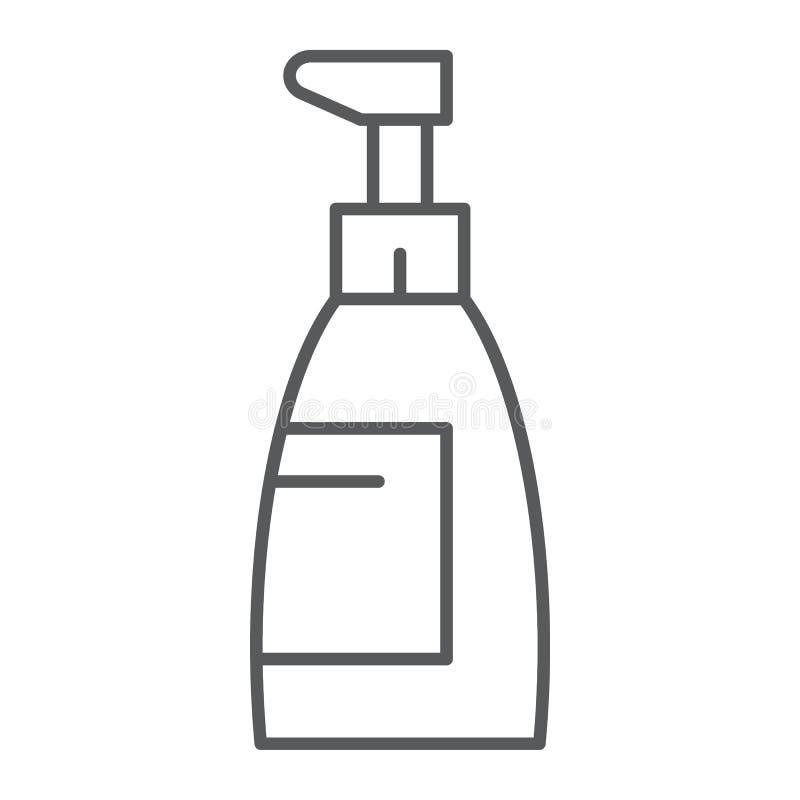 Mydło cienka kreskowa ikona, kosmetyk i obmycie, butelka znak, wektorowe grafika, liniowy wzór na białym tle ilustracja wektor