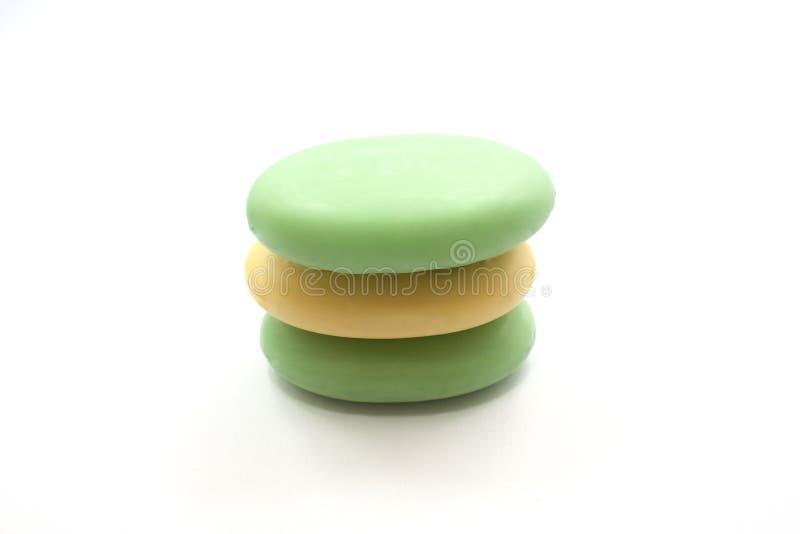 Mydło, zieleń, kolor żółty, biały tło fotografia royalty free