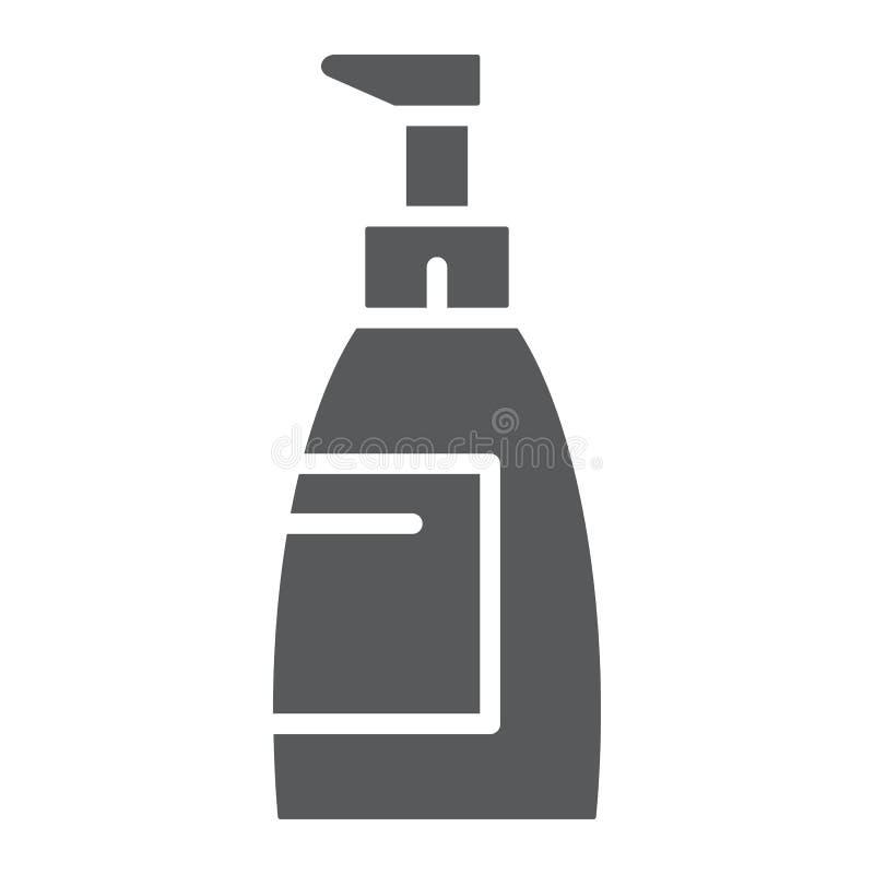 Mydlana glif ikona, kosmetyk i obmycie, butelka znak, wektorowe grafika, bryła wzór na białym tle ilustracji