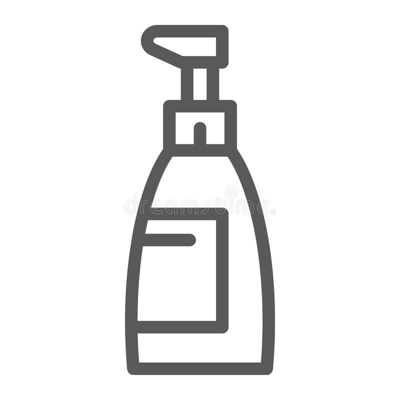 Mydlana kreskowa ikona, kosmetyk i obmycie, butelka znak, wektorowe grafika, liniowy wzór na białym tle ilustracji