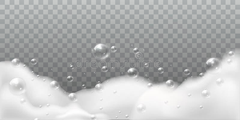Mydlana piana Biali b?ble sk?panie lub pralnia Szamponu mydlany czysty b?yszcz?cy gulgota? P?uczkowy higiena detergent odizolowyw ilustracji