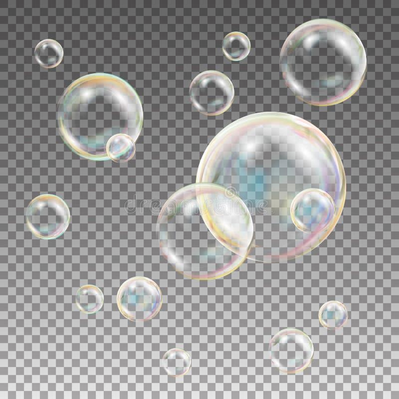 Mydlani bąble Wektorowi Tęczy odbicia Mydlani bąble Aqua obmycie ilustracja ilustracji