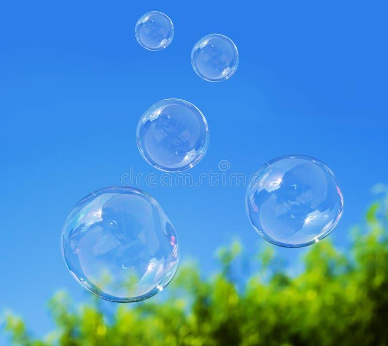 Mydlany bąbel na niebieskim niebie zdjęcie royalty free